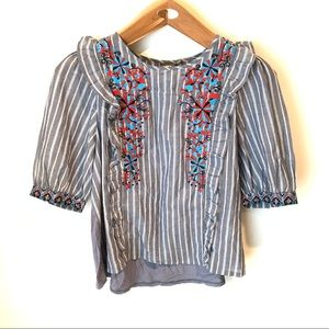 One September Anthropologie Stripe Embroidered Top